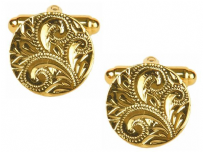 Dalaco 90-1512 Round Full Engraved Gold Plated Cufflinks